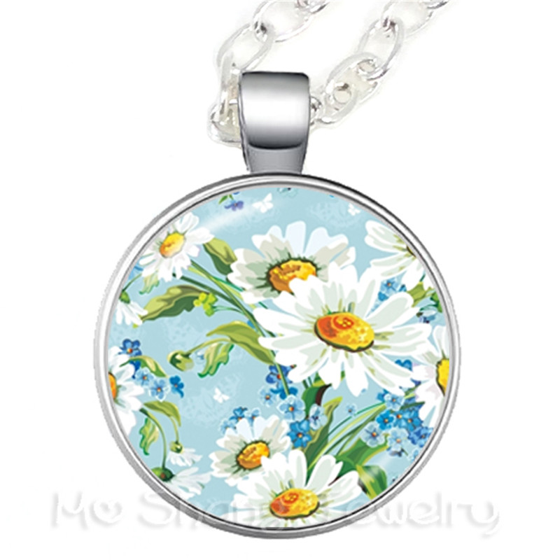 Trees Pattern Picture Design Glass Necklac European And American Jewelry Best Gift For Friends Sweater chain