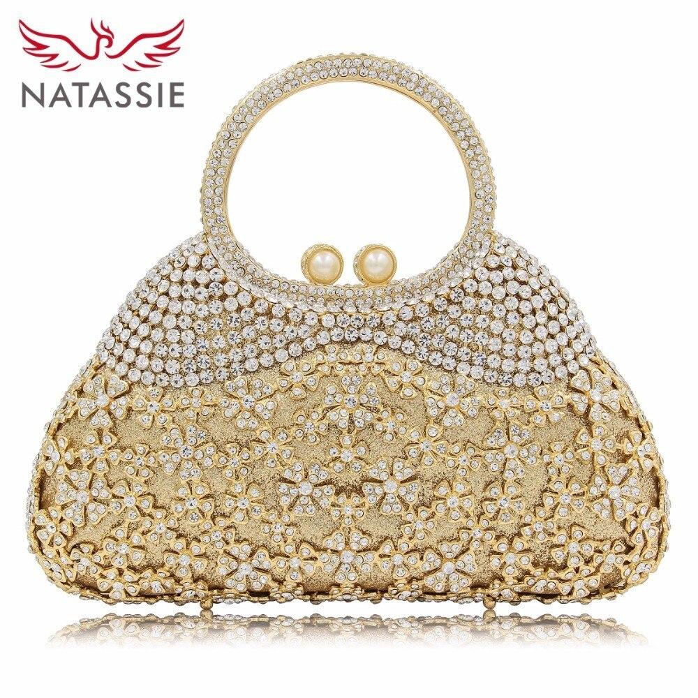 NATASSIE Flower Crystal Clutches Evening Bags Luxury Women Clutch Female Wedding Bag Party Purse natassie women clutch handbag for wedding party evening bag luxury crystal day clutches pink lx011