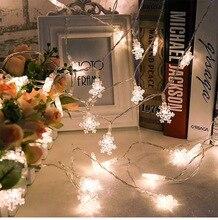 LED copo de nieve cadena luces nieve Hada guirnalda decoración para árbol de Navidad Año Nuevo habitación Día de San Valentín enchufe de batería operado