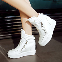 Women Winter Boots 2016 Wedge Concealed Heel High Top Ankle Boots Lace Up Sexy Boots Zipper