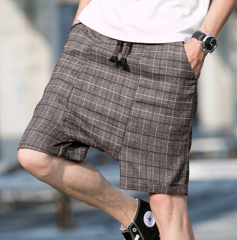 Shorts Mens Harem Elastic-Waist Plus-Size Casual Crotch Plaid Loose Man Baggy