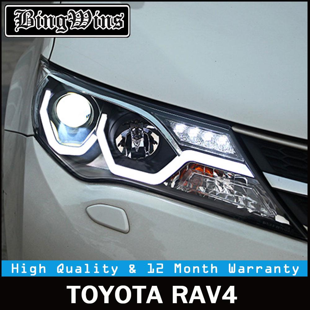 Car stlying For TOYOTA RAV4 led headlights 2013-15 For RAV4 head lamp Angel eye led DRL front light Bi-Xenon Lens xenon HID KIT auto pro for ford focus xenon headlights 2009 2014 bi xenon lens led angel eyes drl h7 hid kit for ford focus led head lamps