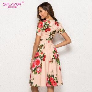 Image 5 - S. טעם נשים הדפסת קיץ שמלה אלגנטית קצר שרוול אביב Midi שמלת עבור נקבה נשים מקרית Vestidos דה