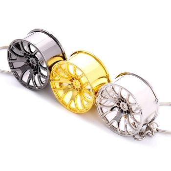 Top Sale 1pc Auto Part Car Wheel Rim Keychain Creative Accessories Auto Part Model Car Keyring Turbo Keychain image