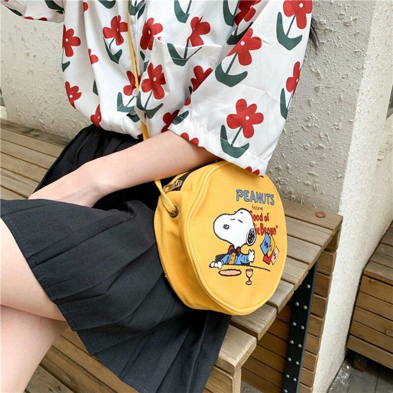Women Popular Waist Packs Lovely Cartoon Snooby Holiday Leisure Small Round Bag Canvas Messenger Bags Design Exquisite Kawaii