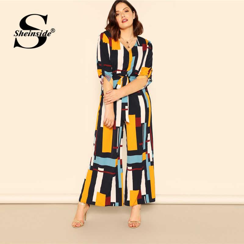 bfc2c960a248c Sheinside Plus Size V Neck Geometric Print Colorblock Jumpsuit Women Button  Belted Jumpsuits 2019 Casual Roll