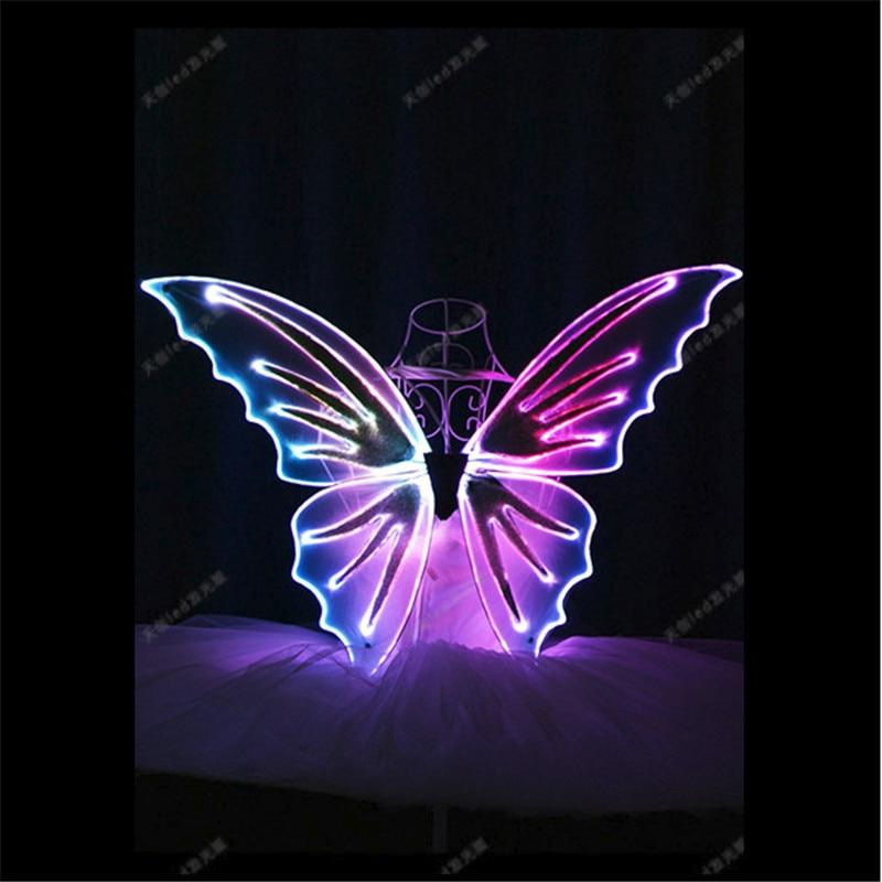TC-171A Programovatelné LED kostýmy RGB světlo barevné křídla plná barva taneční sál kostýmy břišní tanec šaty světelné oblečení
