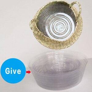 Image 3 - Natural Seagrass Basket Foldable Laundry Basket Bamboo Woven Storage Basket Wicker Rattan Flower Pot Handmade Straw Plant Basket