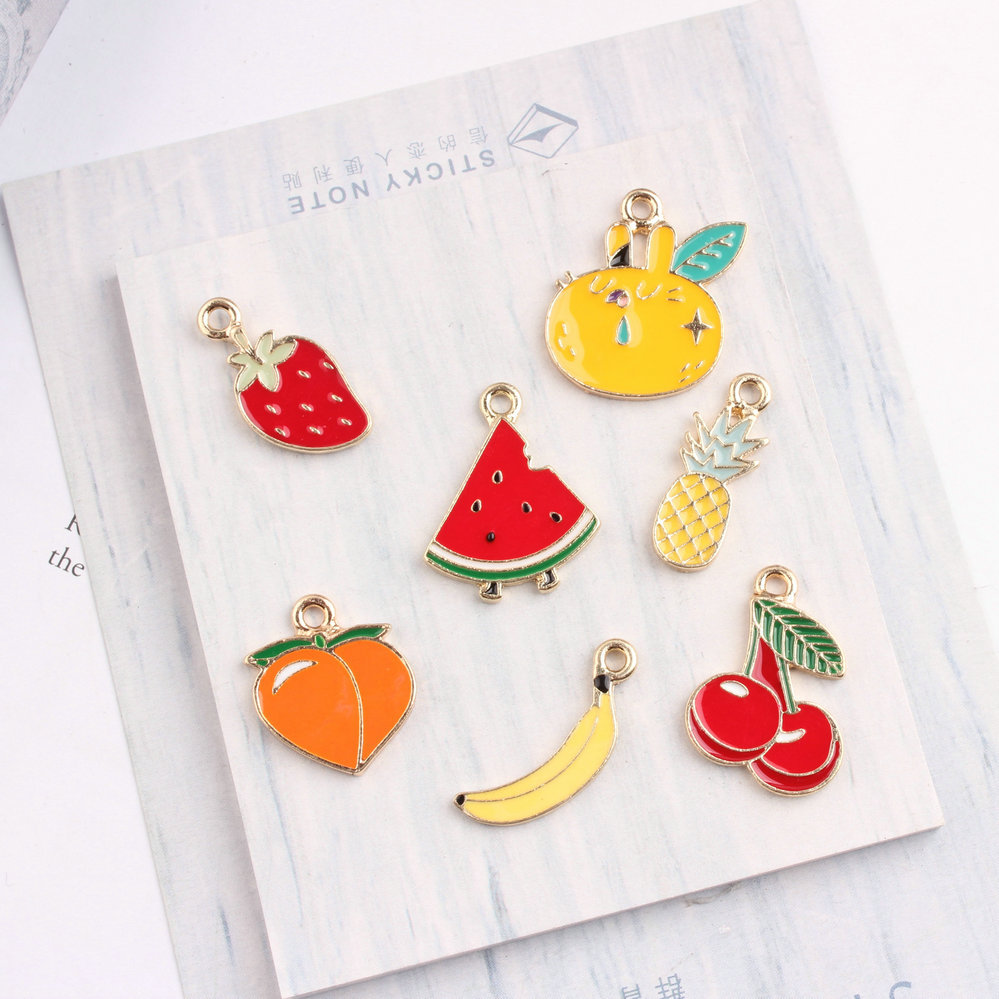 100pcs diy jewelry gold color alloy enamel Cherry pineapple banana watermelon Strawberry grapefruit peach fruits charms pendant