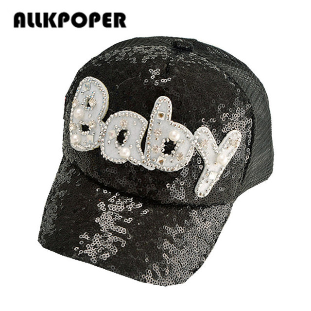44fb024287dc3 ALLKPOPER 2017 Gorras Fashion Casual Casquette Children Girls Baseball Cap  Pearl Diamond Sequins Baby Snapback Caps Hats