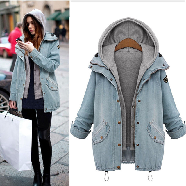 feitong Plus Size 4XL Winter Women Warm Collar Hooded Jacket Trench Outwear Blue