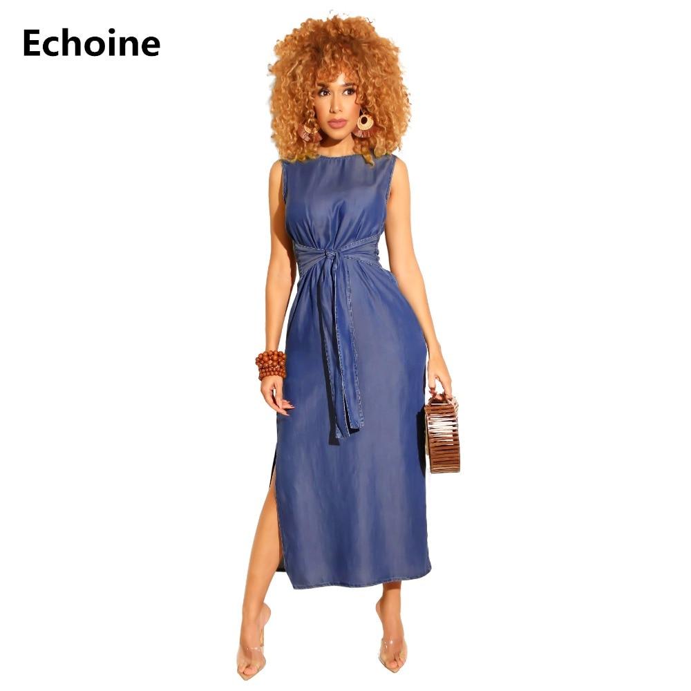 Summer Women Elegant Sleeveless Denim Dress Slim Sexy High Split Maxi Jeans Dress Belt Femme Robe Wrap Club Party Dress Vestidos