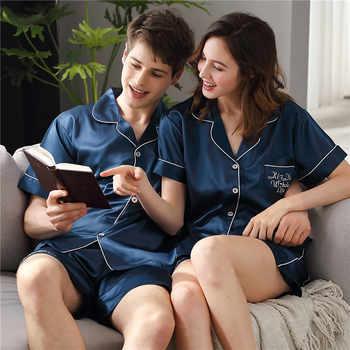 2019 Latest Couple Sleepwear Sexy Satin Silk Pajama Female Male Summer Short Sleeve Shorts Sets Thin Ice Silk Home Wear X9828