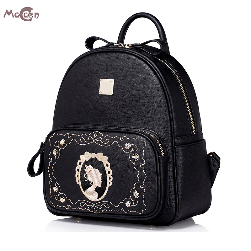 Moccen Female Vintage Backpack Embroidery Small Bagpack Luxury PU Leather Backpacks School Backpack For Teenage Girls