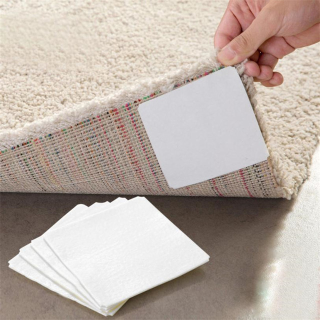 4 X Carpet Rug Pads Non Slip Flooring Safety Sticker Pad Double-sided Adhesive Anti Slip Corners Gripper Stopper Bath Rug Mat M5
