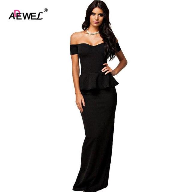 987e804287dfad ADEWEL Women Plus Size Peplum High Waist Brief Sexy Maxi Off The Shoulder  New Long Dress