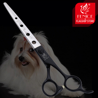 Fenice 7.25 inch professional black pet scissors dog grooming shears in dog straight scissors with holes head