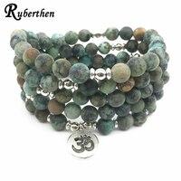 Ruberthen Top Desing Women S Yoga Spiritual Bracelet Trendy Matte African Tuquoise Bracelet Healing 108 Mala