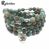 Ruberthen Top Design Women S Yoga Spiritual Bracelet Trendy Matte African Tuquoise Bracelet Healing 108 Mala