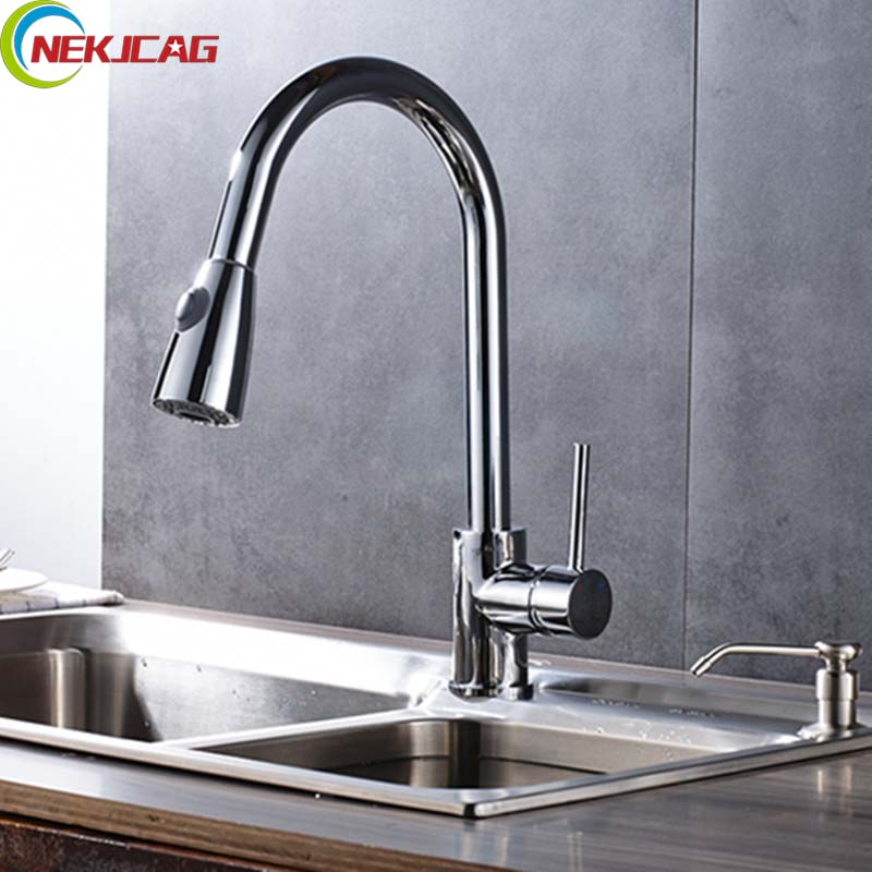 Brushed Nickel Dual Spout Kitchen Faucet TAP Single Lever Deck Mounted Kitchen Mixer Taps kemaidi fashion deluxe kitchen faucet mixer tap deck mounted kitchen faucet nickel brushed brass material kitchen taps