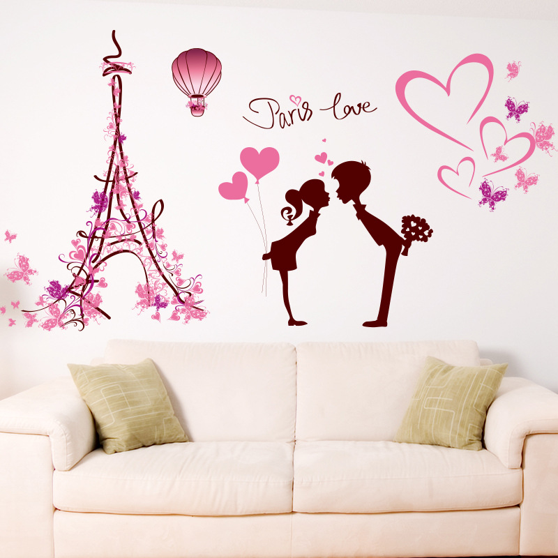 Europe New Love In Paris Wall Decals Wall Stickers Bedroom Bedside Poster  Living Room TV Background Love Stickers XL7120 In Wall Stickers From Home U0026  Garden ...
