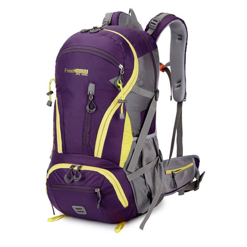 Ao ar livre mochila de acampamento caminhadas mochila trekking 45l & 50l roxo à prova dwaterproof água esportes saco mochilas escalada viagem
