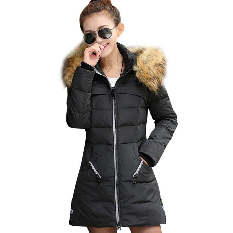 Online Shop Korean Women Winter Hooded Long Jacket 2015 White Duck ...