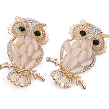 Trendy Rhinestone Alloy Animal Owl Brooches Pins Charm Women Clothing Decoration For Party Creative Jewelry Wedding Gift XZ003
