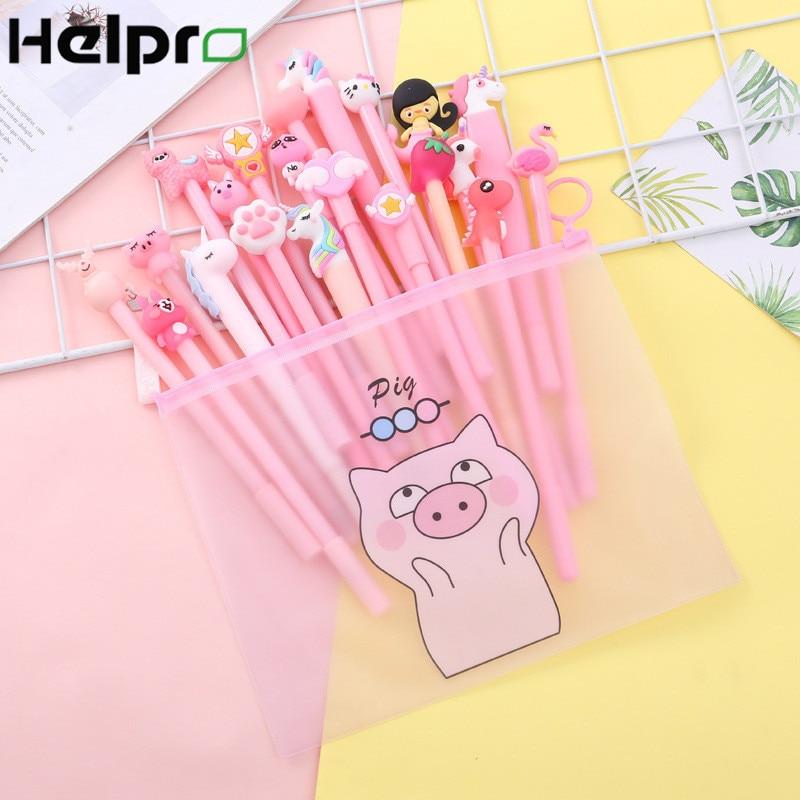 Helpro 21Pcs/Lot Creative Cartoon Gel Pen Kawaii Animal Series Writing Pen Office School Stationery Supplies Big Gift Package