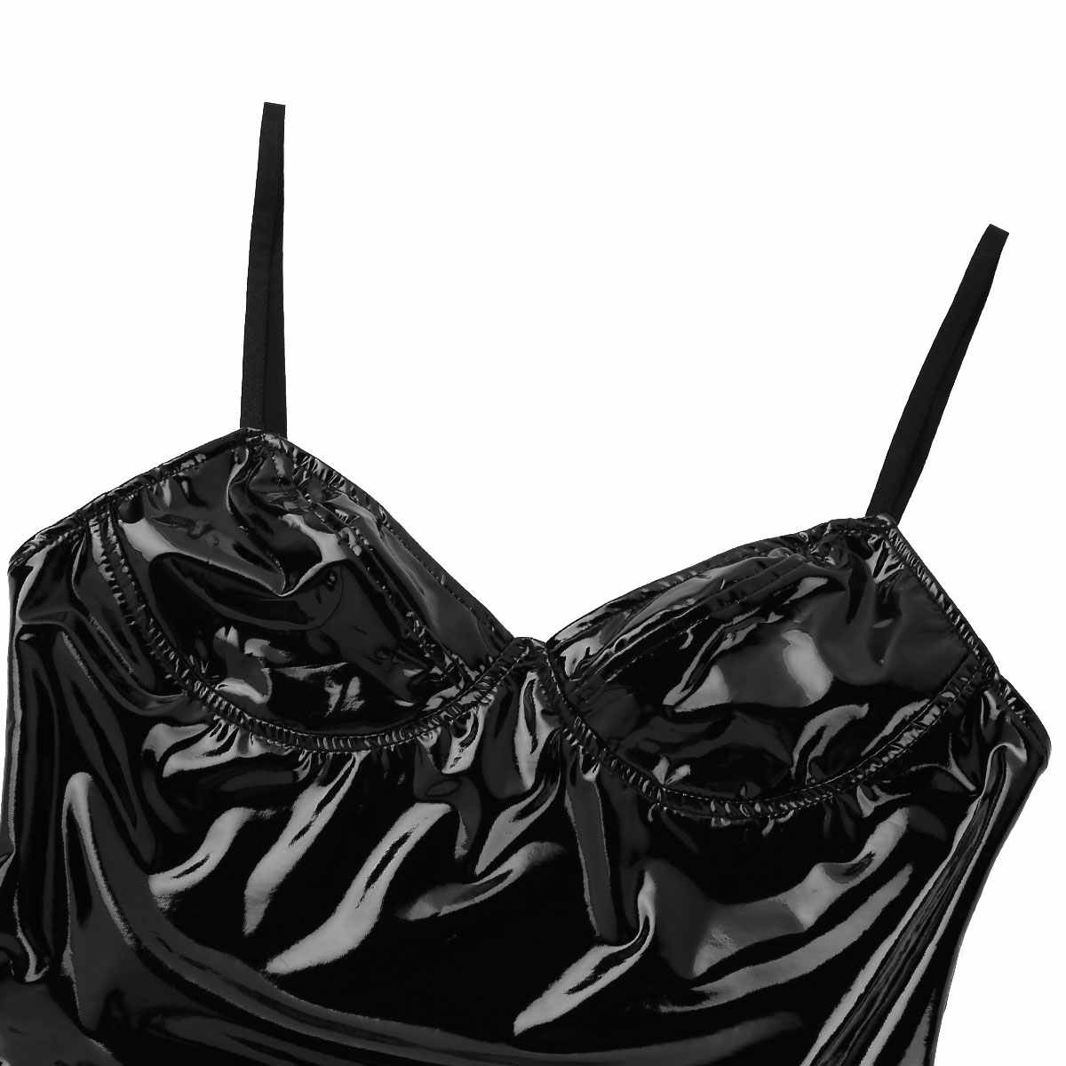 Vrouwen Wet Look Punk Gothic Latex Catsuit Body Sexy Lingerie Bodysuit Lakleer Latex Hoge Cut Erotische Rave Outfits Clubwear