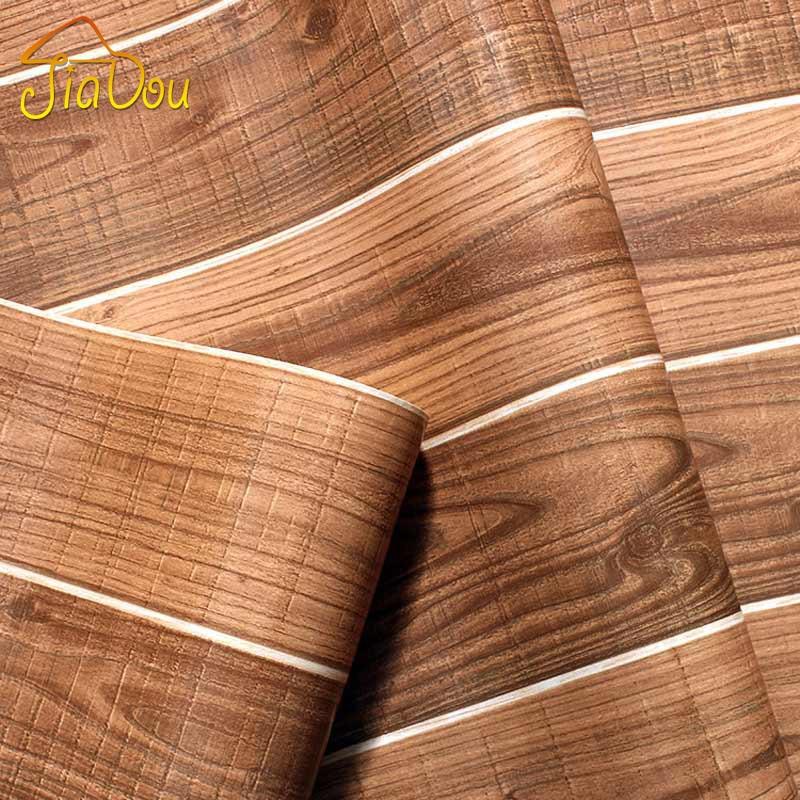 Wood grain pvc waterproof 3d vintage modern design vinyl for Home 3d wallpaper wallcovering