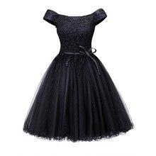 Dressv al largo della spalla vestito da cocktail nero senza maniche di lunghezza del ginocchio una linea lace up homecoming abiti corti da cocktail