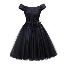 Dressv off the shoulder sukienka koktajlowa czarna bez rękawów kolano długość linia lace up homecoming krótkie sukienki koktajlowe
