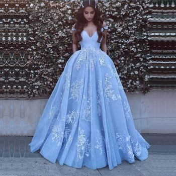 V Neck Beautiful Baby Blue Prom Dresses with Lace Appliques Floor Length Elegant Formal Off The Shoulder Party Gowns