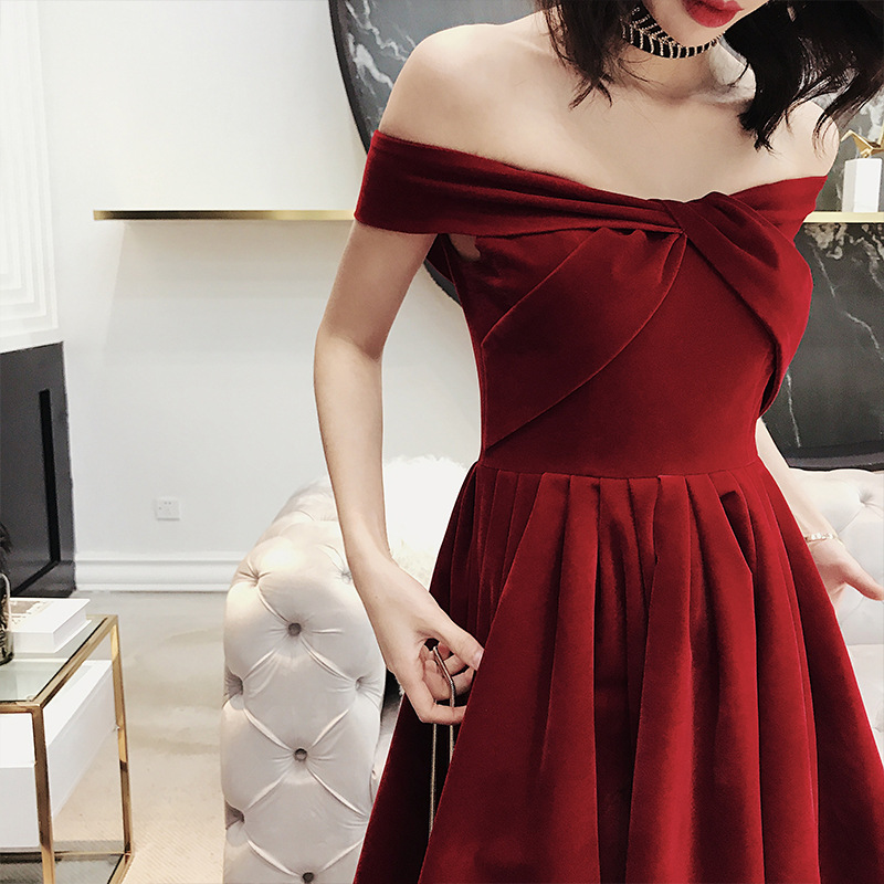 Strapless   Cocktail     Dresses   Sexy Boat Neck Criss-cross Party   Dress   Wine Red Pleat Off Shoulder Plus Size Formal Prom Gowns E362
