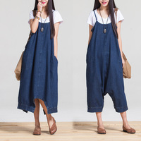 TUHAO Elegant Jeans Jumpsuit for Women Loose Overalls Solid Women's Clothing 2018 New Summer Autumn Denim Rompers Pants TJ202