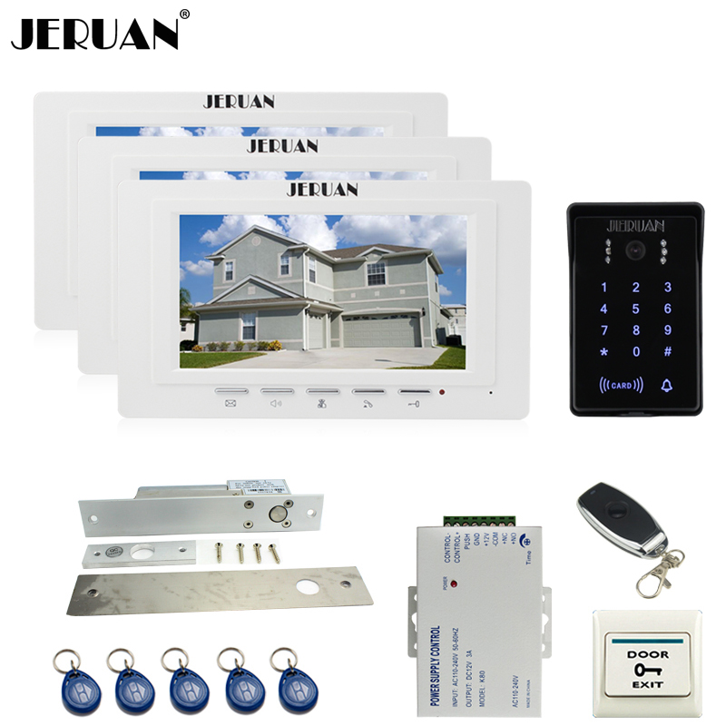 JERUAN white 7`` Video Intercom Video Door Phone System 3 new monitor RFID Waterproof Touch key Camera+Remote control Unlocked jeruan new 7 video intercom entry door phone system 1monitor 700tvl touch key waterproof rfid access camera remote control