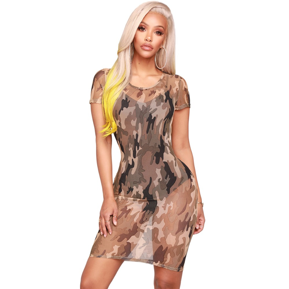 Women Camo Camouflage Casual Mini Dress Sexy Womens Short Sleeve Bodycon Mesh Club Mini Dresses Print Camo Clothes Dress Summer