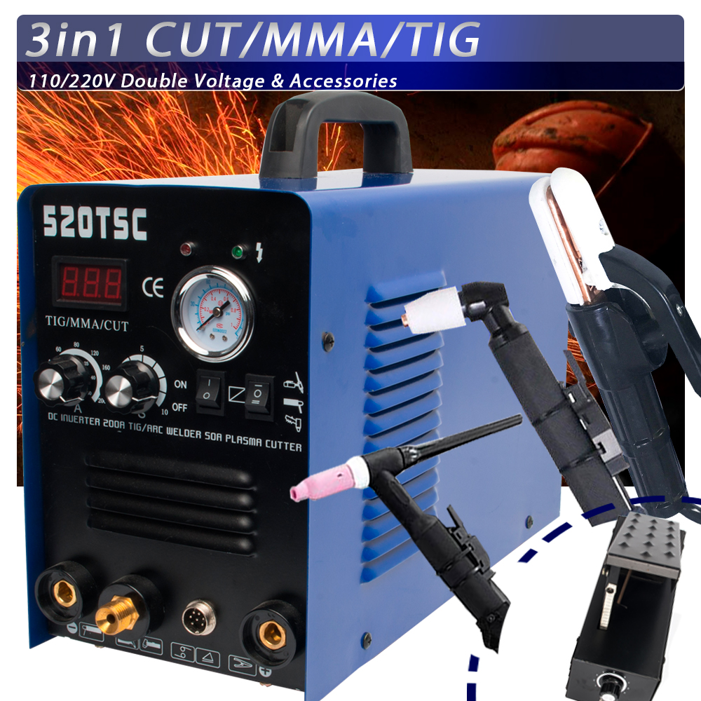 Plasma Cutter 3 in 1 50A Cutter 200A TIG MMA Multifunction Welding Machine With Consumables 520TSC