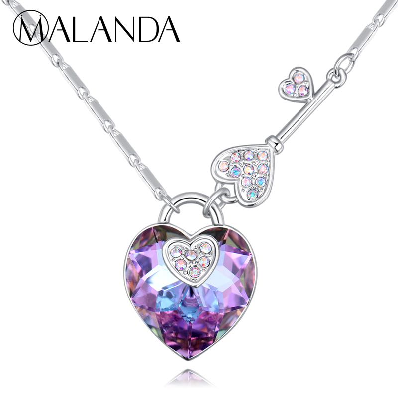 0f1fac2d9dfd MALANDA marca clásico Corazón en forma de cristal de Swarovski collar moda  corazón bloqueo ...