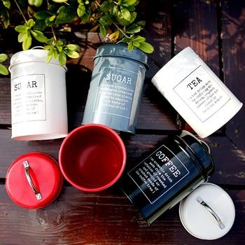 Metal Colorful Seal Storage Jar Classical Minimalist Nordic Desktop Storage Bottle Home Organizer Coffee Sugar Tea Container 1