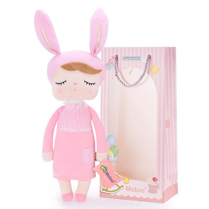 Coniglio di peluche New Angela Bambole rosa Che Indossa il Vestito Metoo Coniglietto Farcito Bambole Regali per Ragazze Dei Capretti 35*16 cm