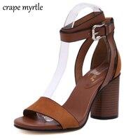 Women Sandals Gladiator High Heels Buckle Strap Strappy Heels Genuine Leather High Heels Platform Sandals Chunky