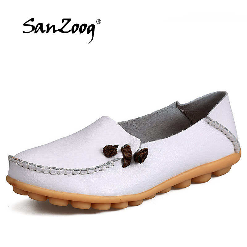 SANZOOG Women Real Leather Shoes Moccasins Mother Loafers Soft Leisure Flats Casual Female Driving Ballet Platform Women's Shoes novemb3r пальто