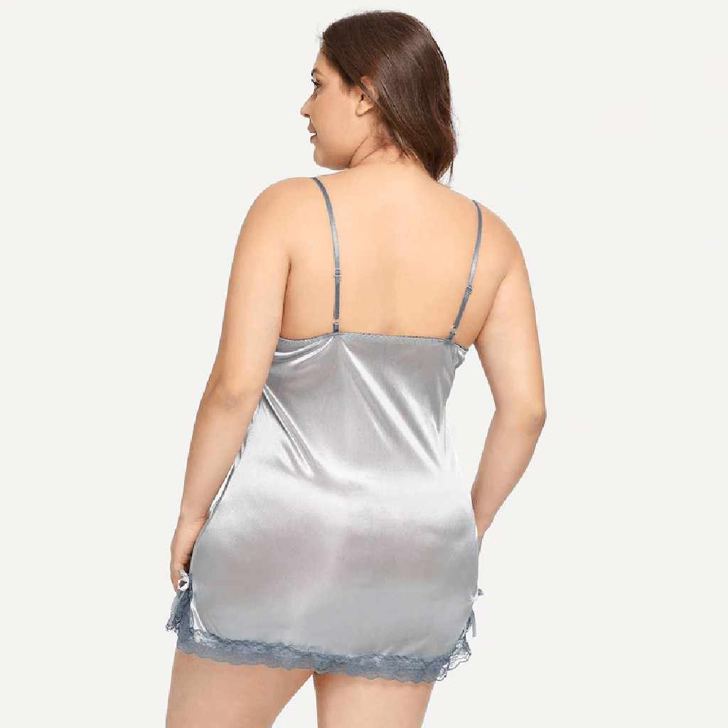 Artı Boyutu gece elbisesi Gecelik Seksi Kıyafeti Dantel Tanga Ile Camisola Iç Çamaşırı Nighty Ipek Elbise pijama Gecelik Elbise