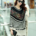 Hot SaleNew Fashion 2016 Autun Winter Women Oversized Wool Pullovers Sweaters Bat Sleeve shawl poncho C169