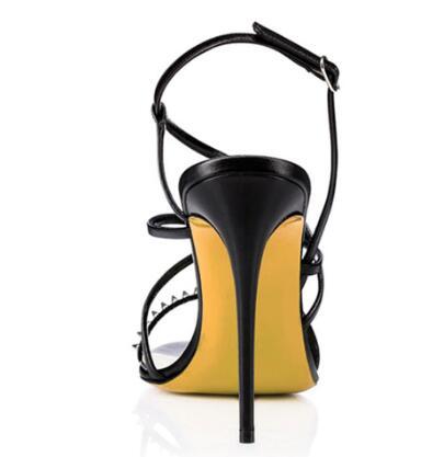 Partito Alta Del Pattini Donna Nera Rivetti Vestito Alla Tacco Sandali Nero Sottile Modo Cintura Di Cinturino Alto Delle Signore Scarpe Il Caviglia IAHqg