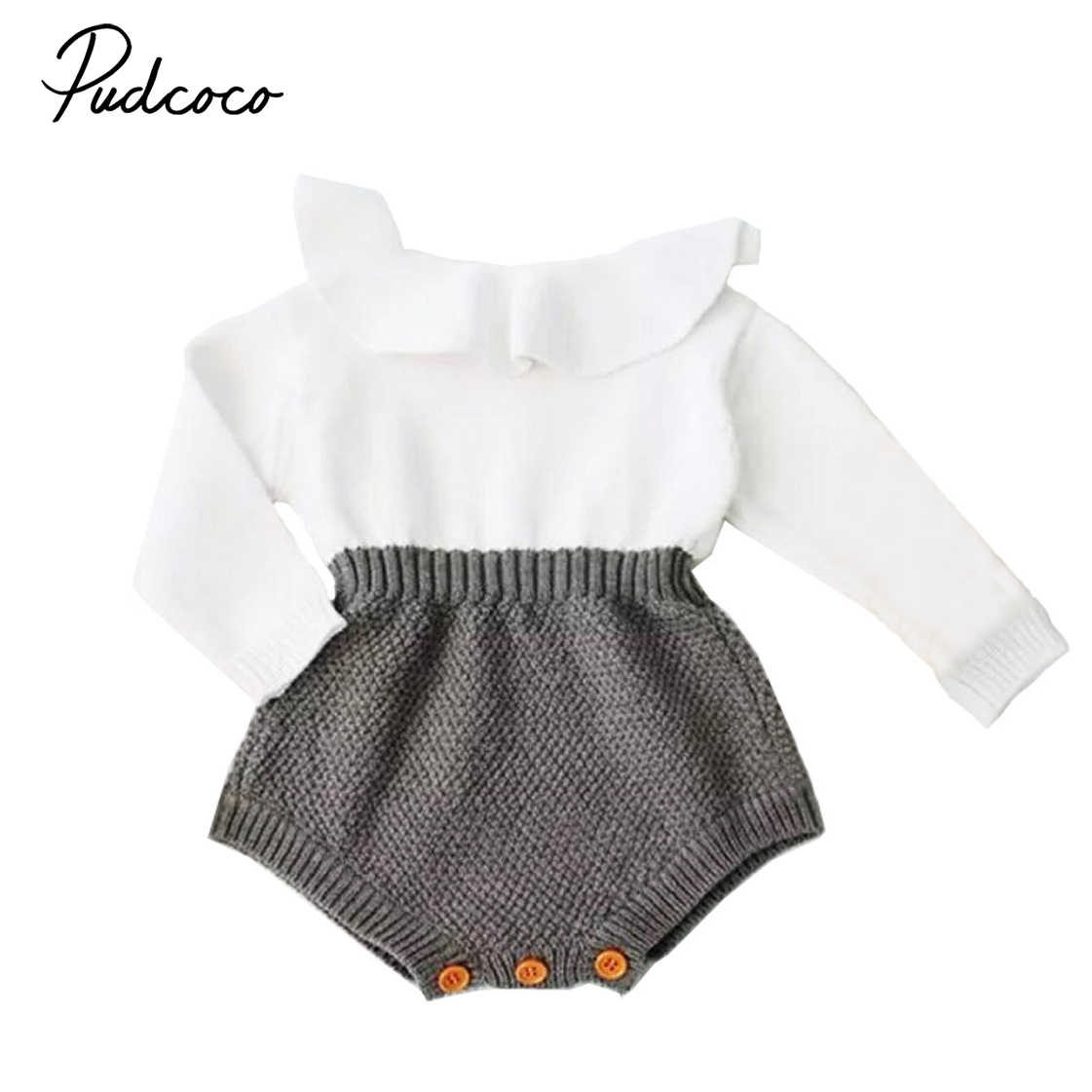 89c846e678346 Cute Newborn Baby Girls Wool Knitting Patchwork Tops Long Sleeve Ruffle  Romper Shorts Warm Outfits Clothes