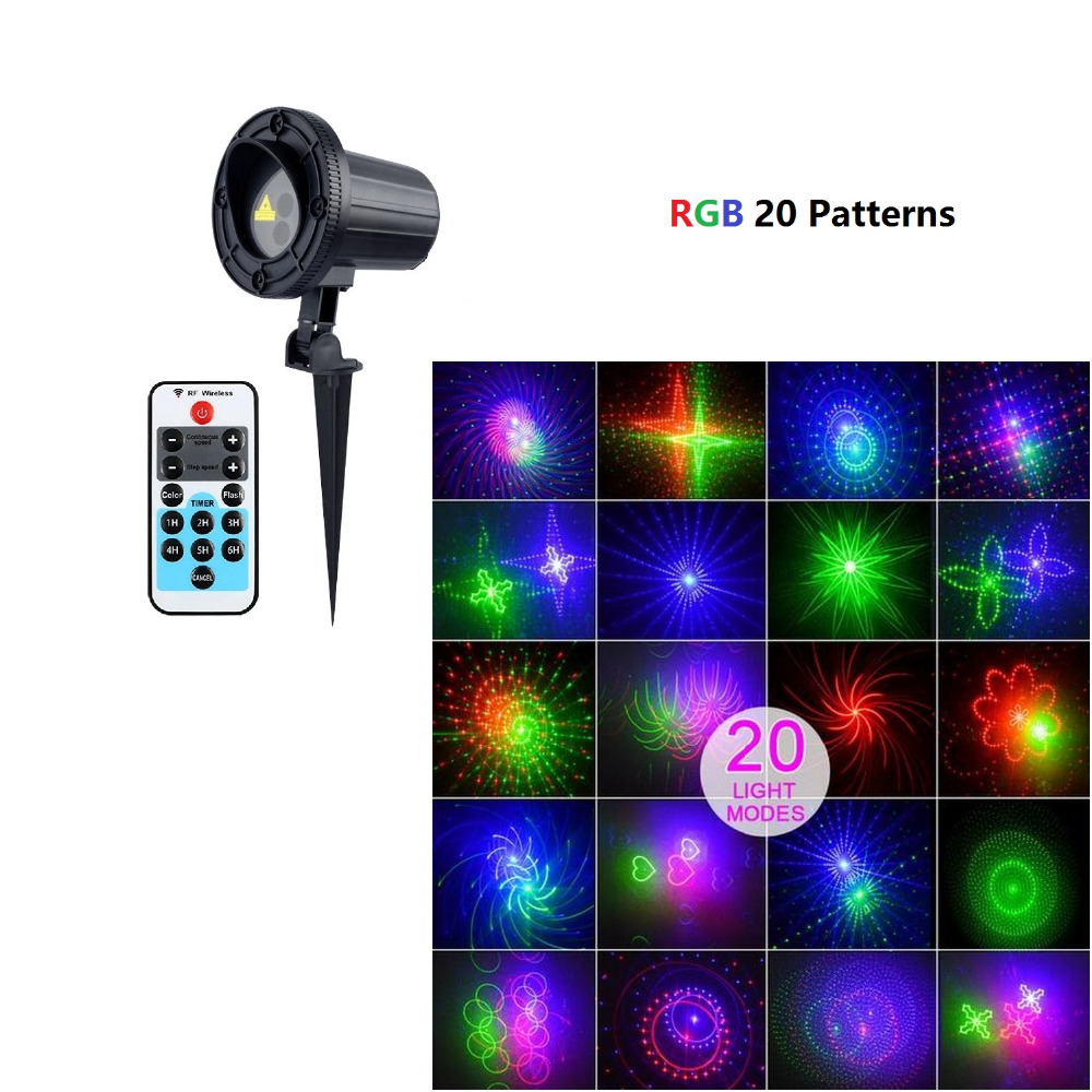 Outdoor Laser Projector Rgb 20 Patterns Waterproof Ir