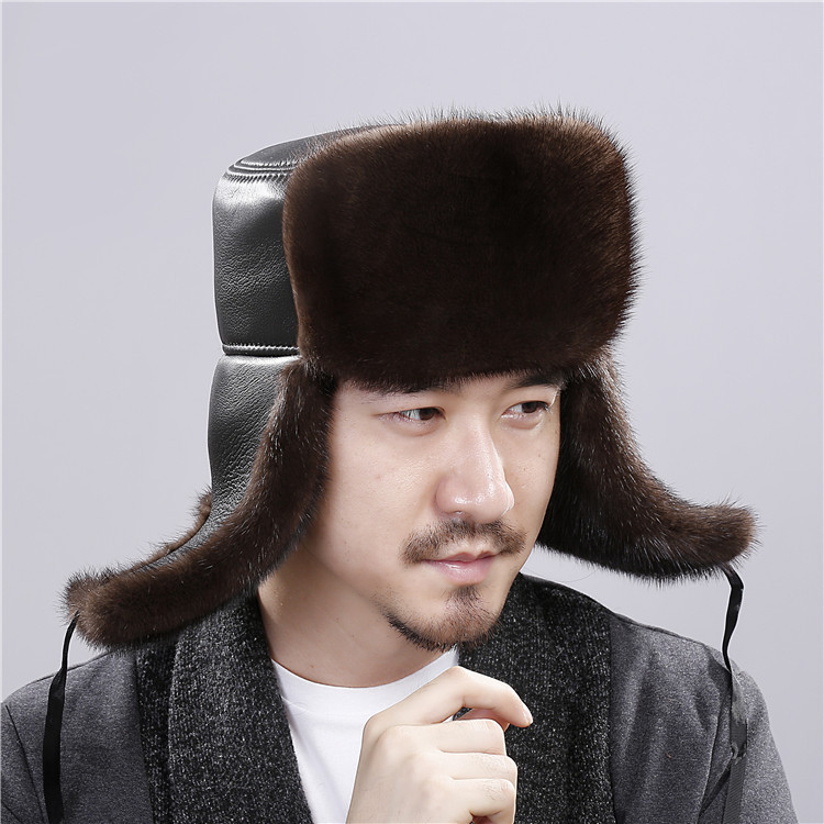 Mink hair Whole Fur hat winter Keep warm Ear cap Man 2018 New pattern Locomotive Sheepskin cap Lei Feng hat A bomb hat for man 2016 children real rabbit fur hats boy girl winter warm solid hat for kids child ear hat lei feng unises red black cap qmh06